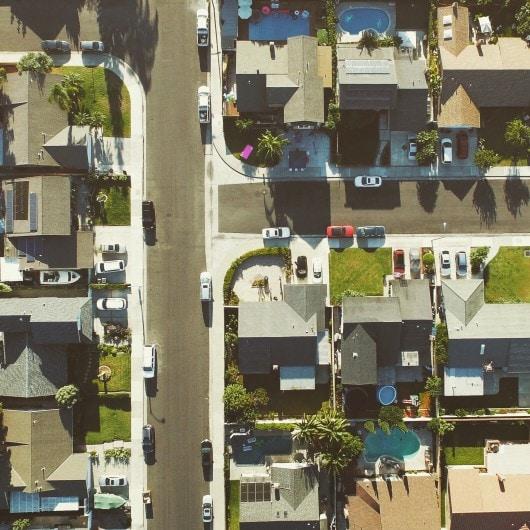 Aerial of Neighborhood Block