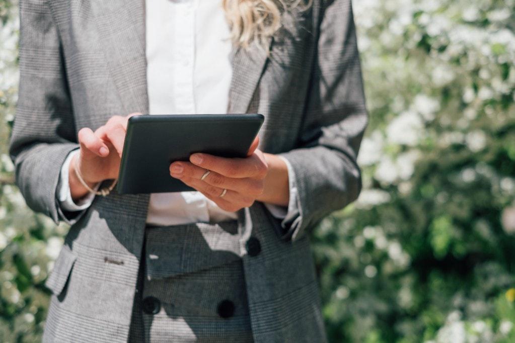 Woman using at tablet